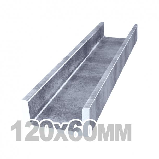 Швеллер нержавеющий (120мм x 60мм x 5 мм x 5мм) AISI 304 П-обр г/к (l=6м)