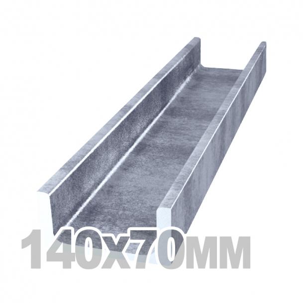 Швеллер нержавеющий (140мм x 70мм x 7 мм x 7мм) AISI 304 П-обр лаз/св (l=6м)