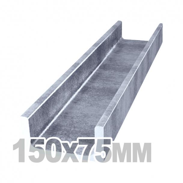 Швеллер нержавеющий (150мм x 75мм x 6 мм x 6мм) AISI 304 П-обр лаз/св (l=6м)