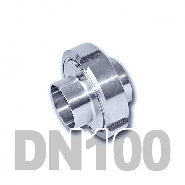 Муфта молочная в сборе нержавеющая DN100 AISI 304 (104мм) (приварной конический патрубок, приварной резьбовой патрубок, уплотнительное кольцо EPDM, шлицевая гайка)