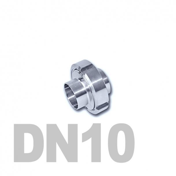Муфта молочная в сборе нержавеющая DN10 AISI 304 (13мм) (приварной конический патрубок, приварной резьбовой патрубок, уплотнительное кольцо EPDM, шлицевая гайка)