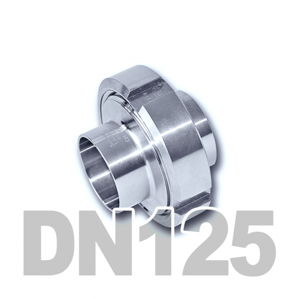 Муфта молочная в сборе нержавеющая DN125 AISI 304 (129мм) (приварной конический патрубок, приварной резьбовой патрубок, уплотнительное кольцо EPDM, шлицевая гайка)
