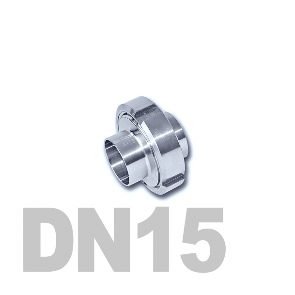 Муфта молочная в сборе нержавеющая DN15 AISI 304 (19мм) (приварной конический патрубок, приварной резьбовой патрубок, уплотнительное кольцо EPDM, шлицевая гайка)
