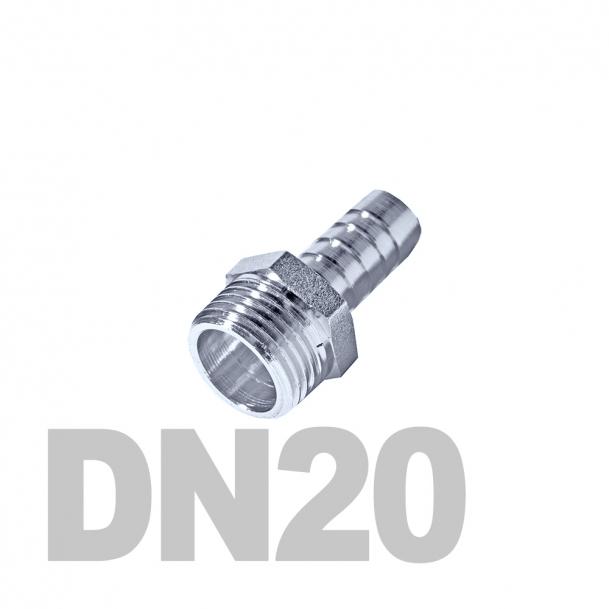 """Штуцер нержавеющий шланговый нр DN20 AISI 316 (3/4"""" x 25мм)"""