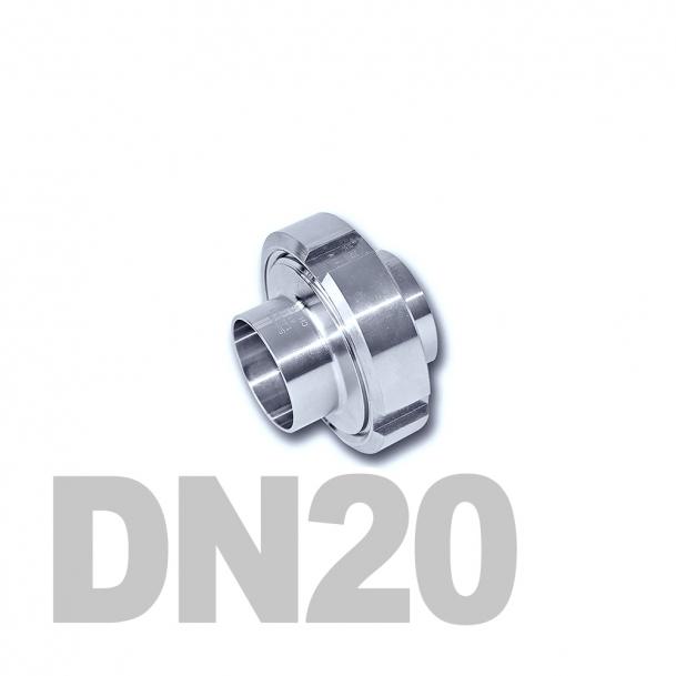 Муфта молочная в сборе нержавеющая DN20 AISI 304 (23мм) (приварной конический патрубок, приварной резьбовой патрубок, уплотнительное кольцо EPDM, шлицевая гайка)