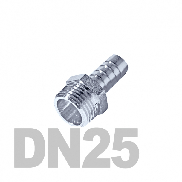 """Штуцер нержавеющий шланговый нр DN25 AISI 316 (1"""" x 20мм)"""