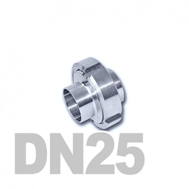 Муфта молочная в сборе нержавеющая DN25 AISI 304 (29мм) (приварной конический патрубок, приварной резьбовой патрубок, уплотнительное кольцо EPDM, шлицевая гайка)