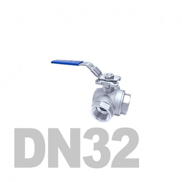 """Кран нержавеющий шаровой трёхходовой вр-вр-вр T-тип DN32 AISI 316 (1 1/4""""   42.4мм)"""