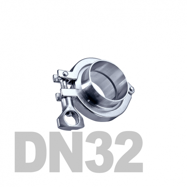 Соединение  «КЛАМП» нержавеющее в сборе DN32 AISI 304 (35мм) (приварной патрубок. уплотнительное кольцо EPDM. хомут)
