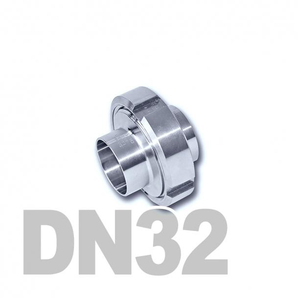 Муфта молочная в сборе нержавеющая DN32 AISI 304 (35мм) (приварной конический патрубок, приварной резьбовой патрубок, уплотнительное кольцо EPDM, шлицевая гайка)