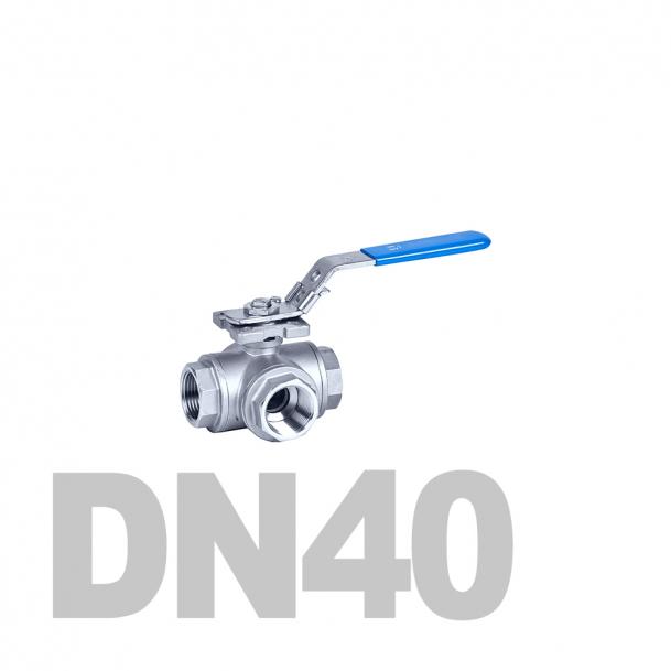 "Кран нержавеющий шаровой трёхходовой вр-вр-вр L-тип DN40 AISI 316 (1 1/2""   48.3мм)"
