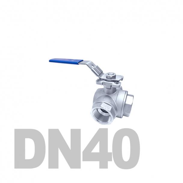 """Кран нержавеющий шаровой трёхходовой вр-вр-вр T-тип DN40 AISI 316 (1 1/2""""   48.3мм)"""