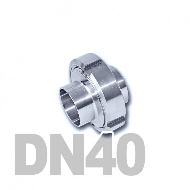 Муфта молочная в сборе нержавеющая DN40 AISI 304 (41мм) (приварной конический патрубок, приварной резьбовой патрубок, уплотнительное кольцо EPDM, шлицевая гайка)