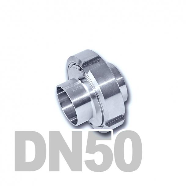 Муфта молочная в сборе нержавеющая DN50 AISI 304 (53мм) (приварной конический патрубок, приварной резьбовой патрубок, уплотнительное кольцо EPDM, шлицевая гайка)